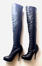 Christian Louboutin Supra Fifre Black Leather Buttoned Boots Euro 37.5