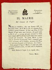 AMG21-PERIODO NAPOLEONICO, DIPARTIMENTO DI MONTENOTTE, FIERA DI  VAGLIO, 1808