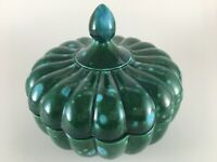 Hand Painted ceramic bowl w/ lid green blue vintage trinket candy dish