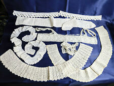 Vintage/Antique Lace Collars Cuffs Bodice Trims-Handmade Crocheted Laces Lot