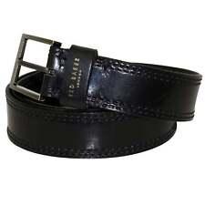 Ted Baker Men's Cricket Stitch Leather Belt, Black