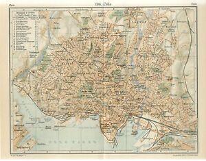 1920s NORWAY OSLO CITY PLAN Antique Map