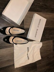 MANOLO BLAHNIK Heels EUR 37 Black Pumps Buckle Open Toe Barely Used