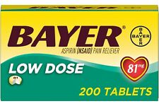 New Bayer Aspirin Regimen 81mg Low Dose Safety Coated Capsules Tablets 200 Ct.