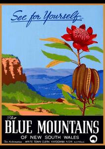 BLUE MOUNTAINS NSW AUSTRALIA VINTAGE REPRO TRAVEL AD ART PRINT POSTER