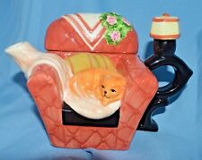 Vtg Houston Harvest Hh Collectible Tea Pot Chair w/Lamp Resting Kitten Cat