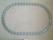 Lego 12v curved rails x 16 and straight rails x 6 making oval set. Bright shiny.
