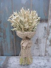 Wedding Dried Flowers Wheat & Oat Sheaf Harvest Rustic Bouquet with Burlap 17""