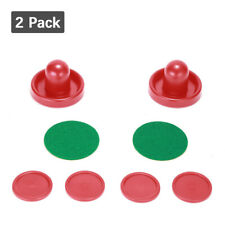 2 PACK 76mm Mini Air Hockey Pushers Table Goalies & 4pcs 50mm Pucks Felt Set USA
