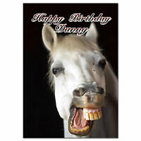 c263; Large Personalised Birthday card; Custom made for any name; Funny Horse