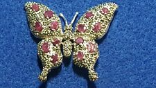 Silver 925 Ruby & Marcasite Ladies Brooch. NY539