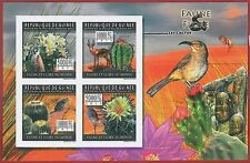 FRENCH GUINEA - ERROR, 2011 IMPERF SHEET: CACTUS, PLANTS, BIRDS, Flora & Fauna
