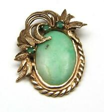 Vintage Jade Emerald & 14k Yellow Gold Necklace Pendant Textured Braided Lovely