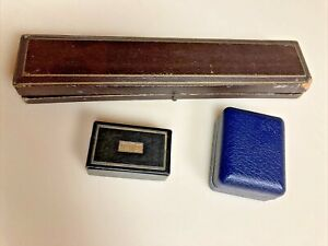 ANTIQUE Victorian Presentation Boxes Ring Tooled LEATHER  CYMA Watch & cufflink