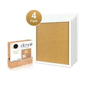 """4 Pack Cork Bulletin Board 12""""X 12"""" Square Wall Tiles, Modern White Framed Bo..."""