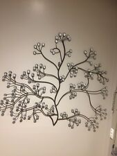 MODERN BLACK BROWN METAL CRYSTAL BEADS WALL ART