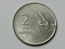 India 2007H 2 RUPEES Hyderabad Mint Coin Toned-Lustre with 2-Fingers Symbol