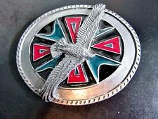 Enamel Maltese Cross Eagle In Flight Belt Buckle Siskayou Signed 1990 Pewter