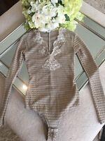 NEW Designer Beige Crochet-Knit Lace Bodysuit Tan Ivory Valery Lingerie $589 RRP
