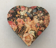 vintage Victorian look decoupage look heart shape card board box Valentine's
