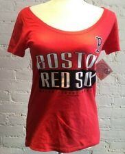 Boston Red Sox MLB Swoop Neck Red Short Sleeve T-Shirt Women's LARGE