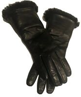 Gala Black Gloves SRL 100% Genuine Leather Lining 52% Cashmere 48% Wool Sz 7