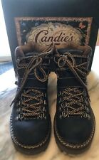 Candie's Blue Leather Hiking Boots Vintage 80s-90s Women's 7.5 Nwb