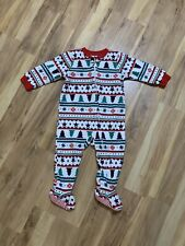 Infant Size 12 Months One Piece Fleece Christmas Holiday Pjs Euc
