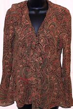 Ralph Lauren Womens Blouse Ruffled 100% Rayon Extra Small XS Rust  Brown Paisley