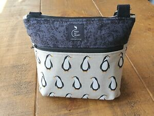 Cross body bag - Penguin Print design with zipped outer pocket. Handmade.