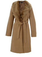 Quiz Zara H&M Camel Fur Collar Tie Belt Coat UK 10