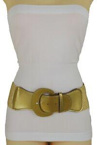 Women Cute Gold Wide Elastic Band Fashion Belt Hip Waist Bling Nice Buckle M L