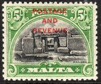 Malta1928 postage and revenue black/green 5/- multi-script mint SG191