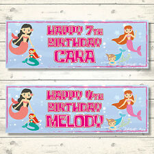 2 PERSONALISED MERMAID BIRTHDAY BANNERS - ANY NAME - ANY AGE