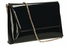 Women Patent Leather Envelope Ladies Evening Party Smart Pink Nude Clutch Bag