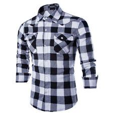 Men's Long Sleeve Casual Check Print Smart Cotton Work Flannel Plaid Shirt Top