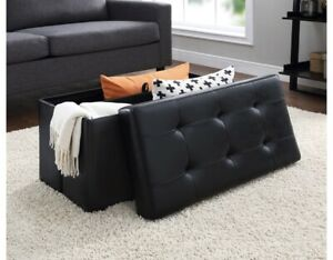 Mainstays Collapsible Storage Ottoman, Quilted Black Faux Leather Fast Ship US