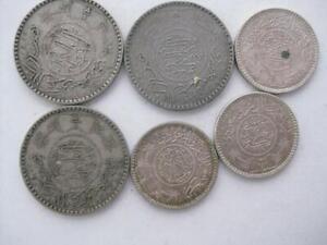 Saudi Arabia lot 6 silver coins 3 1935 1/2 Riyal  3 1/4 Riyal VF-UNC #289