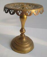 Vintage Brass Metal Pedestal Fireplace Kettle Stand Trivet