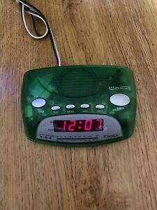 VTG Timex T23P Alarm Clock AM/FM Radio Nature Sounds Green Clear Transparent