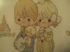 Precious Moments Baptism Christening Completed Cross Stitch Picture Framed