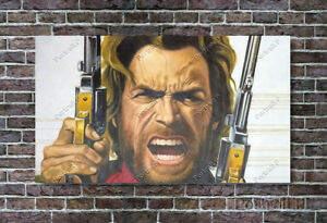 Clint Eastwood Oil Painting Cowboy Hand-Painted Art on Canvas NOT a Print 24x40