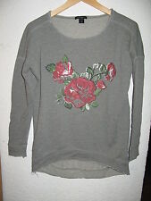 Damen Sweater Pulli grau Rosen Amisu S oversised long lang
