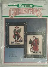 Bucilla counted cross stitch Christmas 82599 antique Santa's set of 2 5x7""