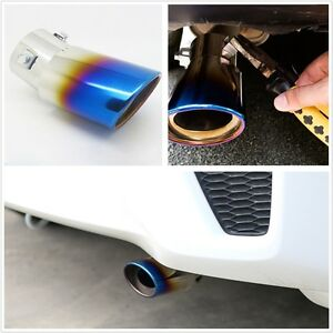 1 Pcs Universal Car Rear Round Exhaust Pipe Tail Muffler Tip Stainless Steel