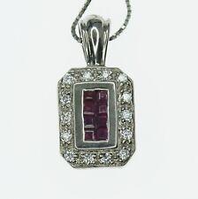 18K White Gold LeVian Ruby & Diamond Reversible Pendant Necklace