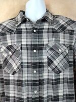 Levis Mens Western Pearl Snap Shirt Size M Gray White Cotton Plaid Long Sleeve