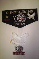 OA O-SHOT-CAW 265 S FLORIDA 2-PATCH BLACK FELT 100TH ANN NOAC 2015 FLAP DANGLE