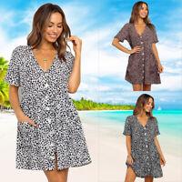 Summer Women's V Neck Button Polka Dot Casual  Holiday Loose Pocket Swing Dress