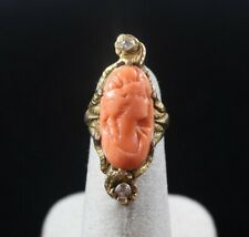 Salmon Coral with Diamond Ring 3.75Us Antique 14k Gold Carved Cameo Natural